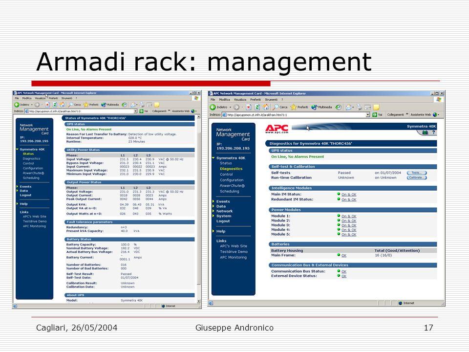 Cagliari, 26/05/2004Giuseppe Andronico17 Armadi rack: management