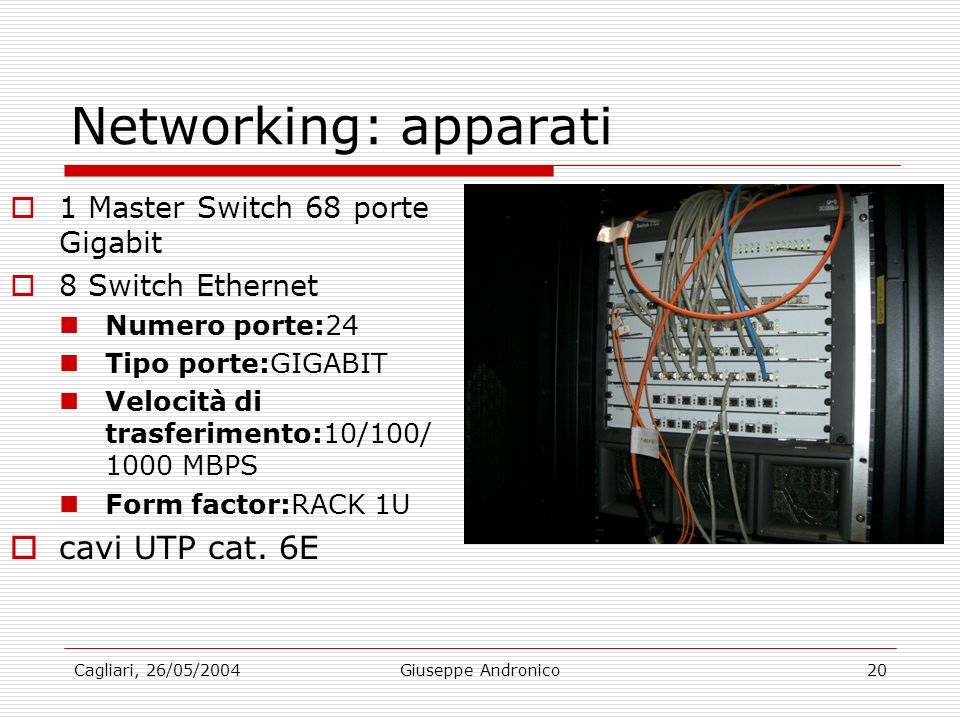 Cagliari, 26/05/2004Giuseppe Andronico20 Networking: apparati 1 Master Switch 68 porte Gigabit 8 Switch Ethernet Numero porte:24 Tipo porte:GIGABIT Ve