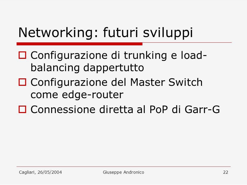 Cagliari, 26/05/2004Giuseppe Andronico22 Networking: futuri sviluppi Configurazione di trunking e load- balancing dappertutto Configurazione del Master Switch come edge-router Connessione diretta al PoP di Garr-G