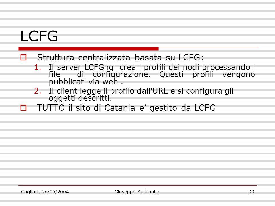 Cagliari, 26/05/2004Giuseppe Andronico39 LCFG Struttura centralizzata basata su LCFG: 1.Il server LCFGng crea i profili dei nodi processando i file di configurazione.
