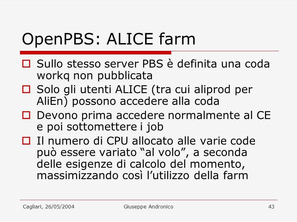 Cagliari, 26/05/2004Giuseppe Andronico43 OpenPBS: ALICE farm Sullo stesso server PBS è definita una coda workq non pubblicata Solo gli utenti ALICE (tra cui aliprod per AliEn) possono accedere alla coda Devono prima accedere normalmente al CE e poi sottomettere i job Il numero di CPU allocato alle varie code può essere variato al volo, a seconda delle esigenze di calcolo del momento, massimizzando così lutilizzo della farm