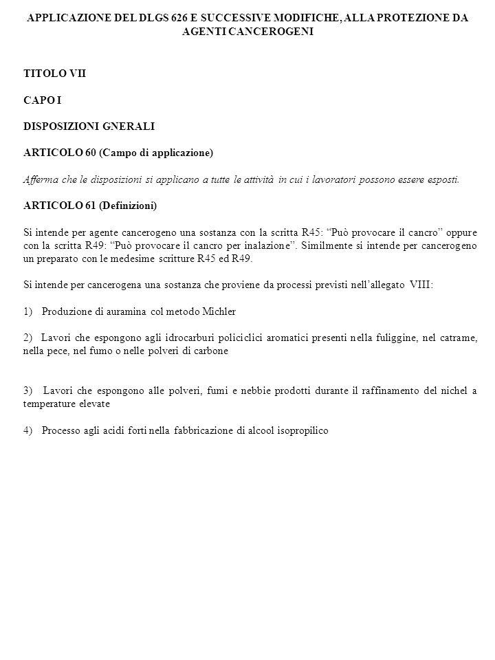 APPLICAZIONE DEL DLGS 626 E SUCCESSIVE MODIFICHE, ALLA PROTEZIONE DA AGENTI CANCEROGENI TITOLO VII CAPO I DISPOSIZIONI GNERALI ARTICOLO 60 (Campo di a