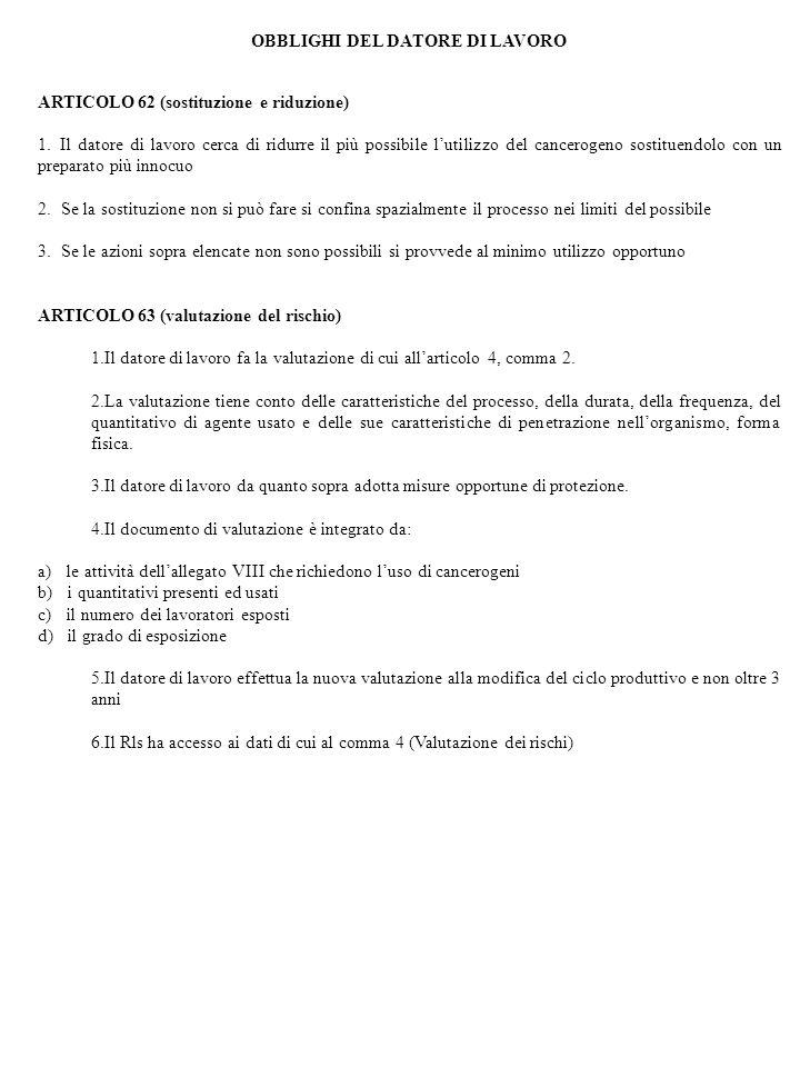 OBBLIGHI DEL DATORE DI LAVORO ARTICOLO 62 (sostituzione e riduzione) 1. Il datore di lavoro cerca di ridurre il più possibile lutilizzo del cancerogen