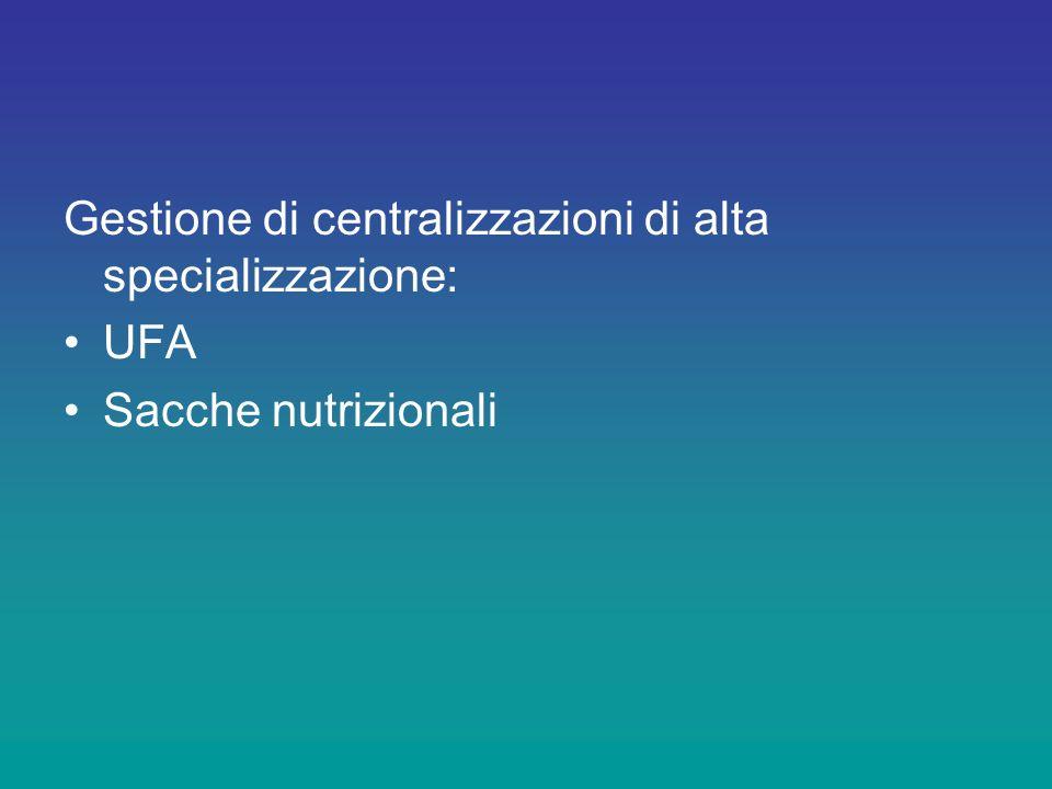Gestione di centralizzazioni di alta specializzazione: UFA Sacche nutrizionali