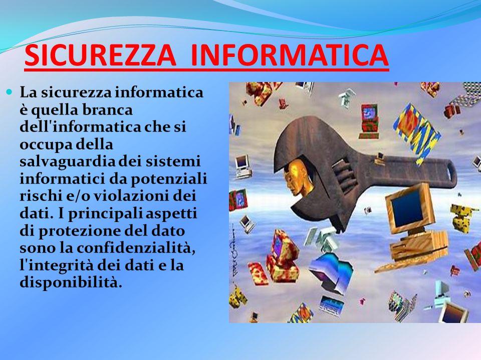 SICUREZZA INFORMATICA La sicurezza informatica è quella branca dell informatica che si occupa della salvaguardia dei sistemi informatici da potenziali rischi e/o violazioni dei dati.