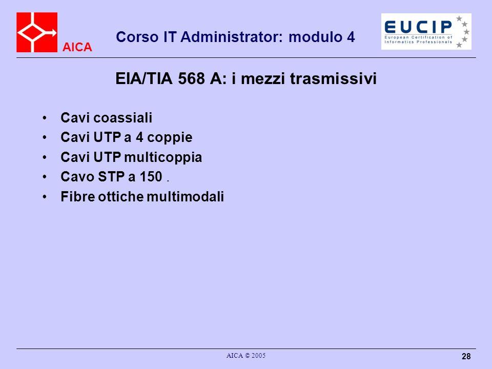 AICA Corso IT Administrator: modulo 4 AICA © 2005 28 EIA/TIA 568 A: i mezzi trasmissivi Cavi coassiali Cavi UTP a 4 coppie Cavi UTP multicoppia Cavo S