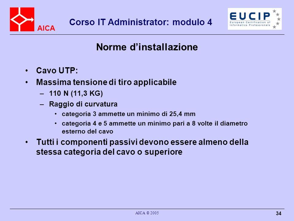 AICA Corso IT Administrator: modulo 4 AICA © 2005 34 Norme dinstallazione Cavo UTP: Massima tensione di tiro applicabile –110 N (11,3 KG) –Raggio di c