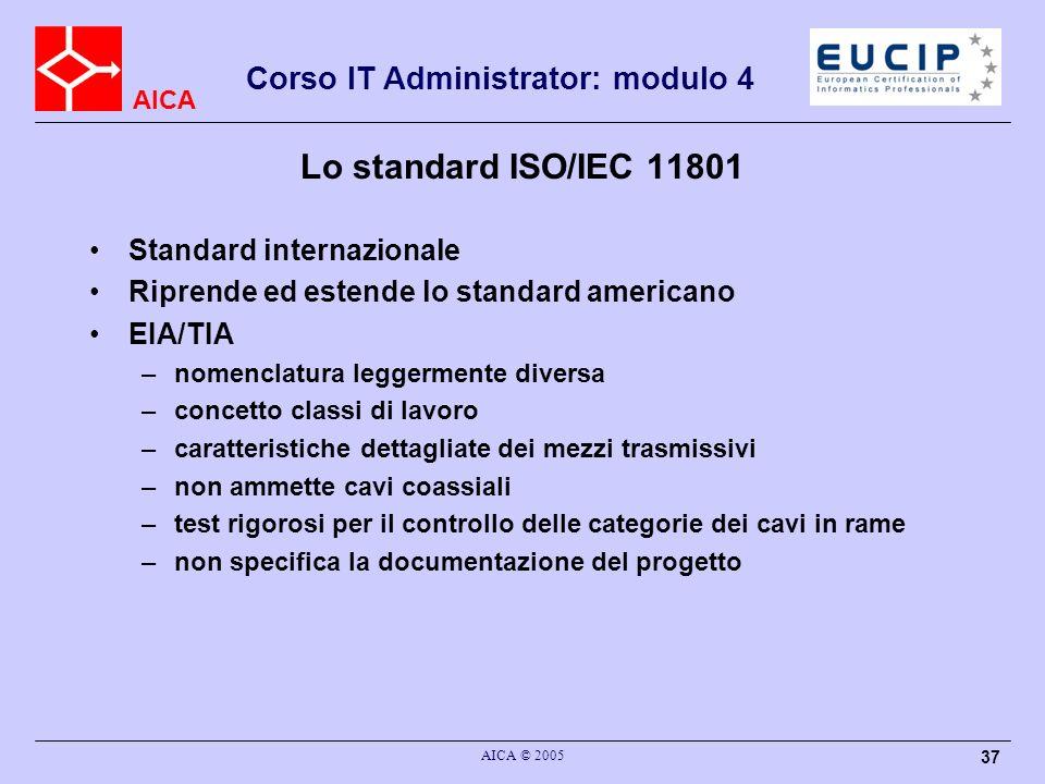 AICA Corso IT Administrator: modulo 4 AICA © 2005 37 Lo standard ISO/IEC 11801 Standard internazionale Riprende ed estende lo standard americano EIA/T