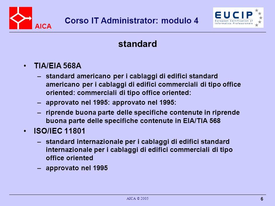 AICA Corso IT Administrator: modulo 4 AICA © 2005 27 EIA/TIA 568 A: nomenclatura Permutatore: –cross cross-connect –è costituito da due parti dove vengono terminati I cavi entranti e quelli uscenti: si possono effettuare per esempio delle permutazioni tra dorsali di edificio (cavi entranti) e distribuzione di piano (cavi uscenti) Interbuilding Entrance Facility (EF): –realizza le connessioni tra l Interbuilding Backbone e l Intrabuilding Backbone provvedendo alle necessarie protezioni elettriche (scaricatori) per I cavi rame