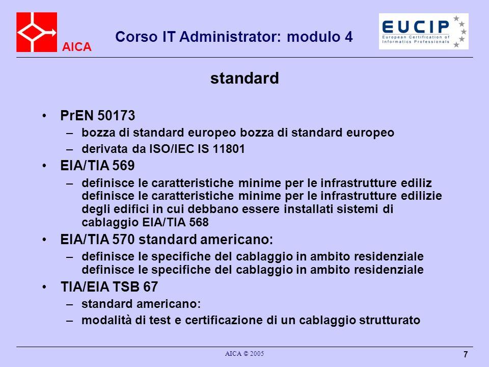 AICA Corso IT Administrator: modulo 4 AICA © 2005 28 EIA/TIA 568 A: i mezzi trasmissivi Cavi coassiali Cavi UTP a 4 coppie Cavi UTP multicoppia Cavo STP a 150.