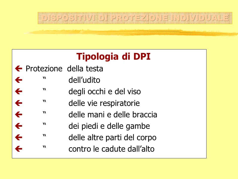 Tipologia di DPI ç Protezione della testa ç delludito ç degli occhi e del viso ç delle vie respiratorie ç delle mani e delle braccia ç dei piedi e del