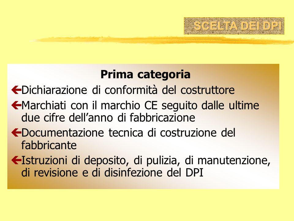 Prima categoria çDichiarazione di conformità del costruttore çMarchiati con il marchio CE seguito dalle ultime due cifre dellanno di fabbricazione çDo