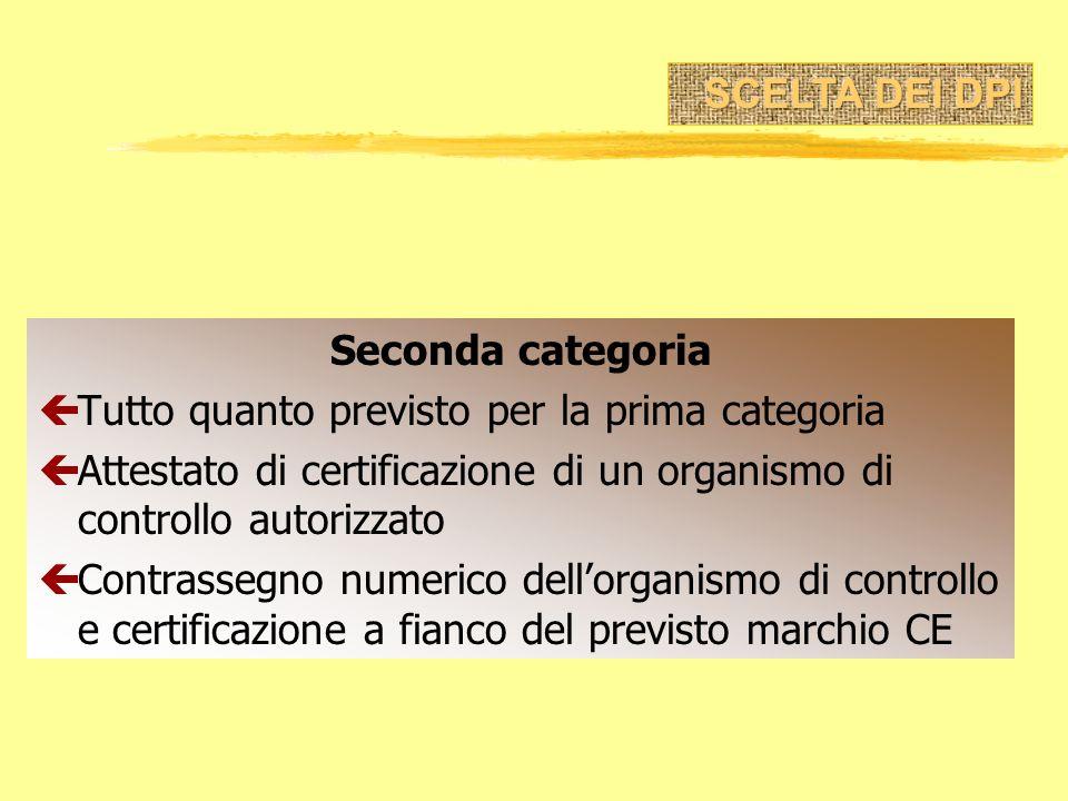 Seconda categoria çTutto quanto previsto per la prima categoria çAttestato di certificazione di un organismo di controllo autorizzato çContrassegno nu