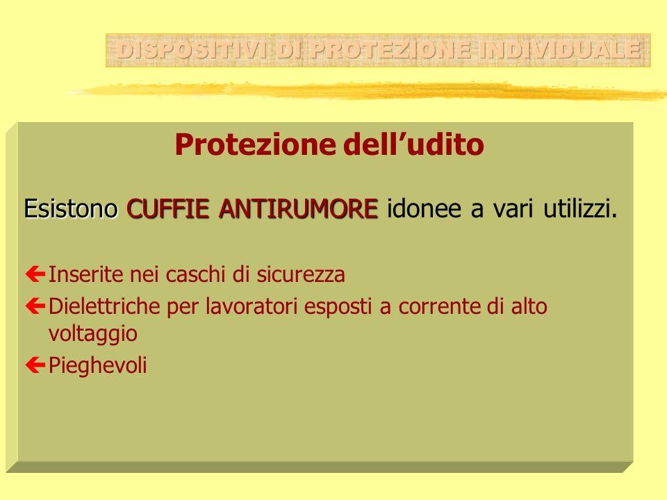 Protezione delludito Esistono CUFFIE ANTIRUMORE Esistono CUFFIE ANTIRUMORE idonee a vari utilizzi. çInserite nei caschi di sicurezza çDielettriche per