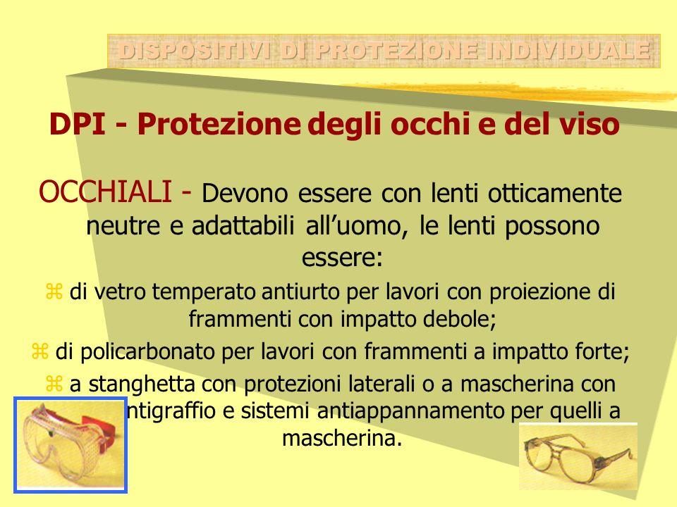 DPI - Protezione degli occhi e del viso OCCHIALI - Devono essere con lenti otticamente neutre e adattabili alluomo, le lenti possono essere: zdi vetro