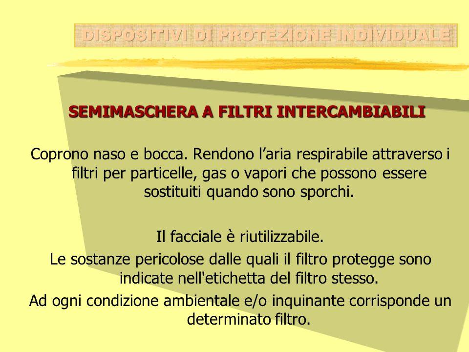 SEMIMASCHERA A FILTRI INTERCAMBIABILI SEMIMASCHERA A FILTRI INTERCAMBIABILI Coprono naso e bocca. Rendono laria respirabile attraverso i filtri per pa