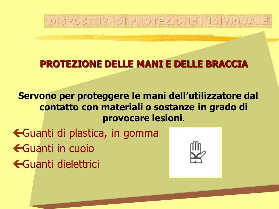 PROTEZIONE DELLE MANI E DELLE BRACCIA PROTEZIONE DELLE MANI E DELLE BRACCIA Servono per proteggere le mani dellutilizzatore dal contatto con materiali