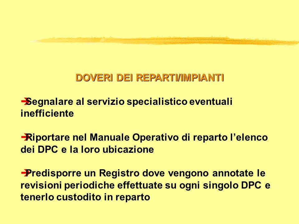 DOVERI DEI REPARTI/IMPIANTI èSegnalare al servizio specialistico eventuali inefficiente èRiportare nel Manuale Operativo di reparto lelenco dei DPC e