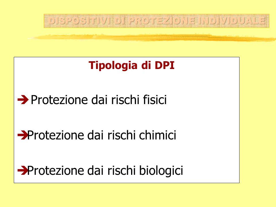 Tipologia di DPI è Protezione dai rischi fisici èProtezione dai rischi chimici èProtezione dai rischi biologici