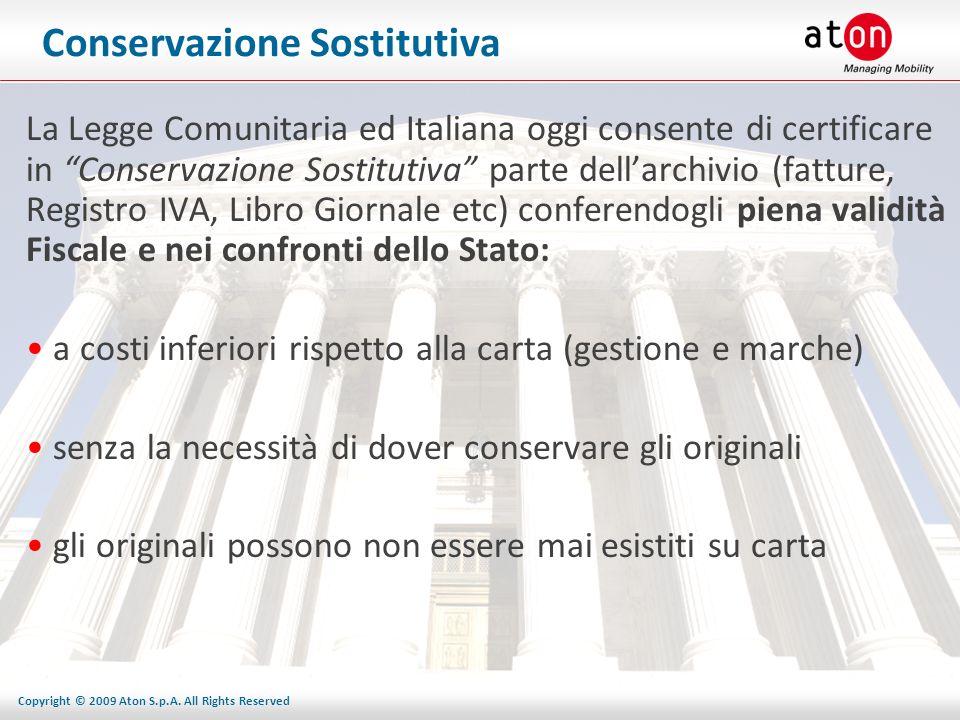 Copyright © 2009 Aton S.p.A. All Rights Reserved Conservazione Sostitutiva La Legge Comunitaria ed Italiana oggi consente di certificare in Conservazi
