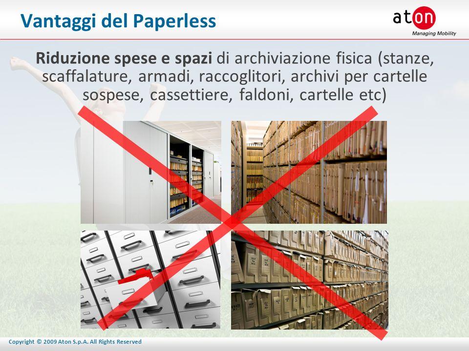 Copyright © 2009 Aton S.p.A. All Rights Reserved Vantaggi del Paperless Riduzione spese e spazi di archiviazione fisica (stanze, scaffalature, armadi,