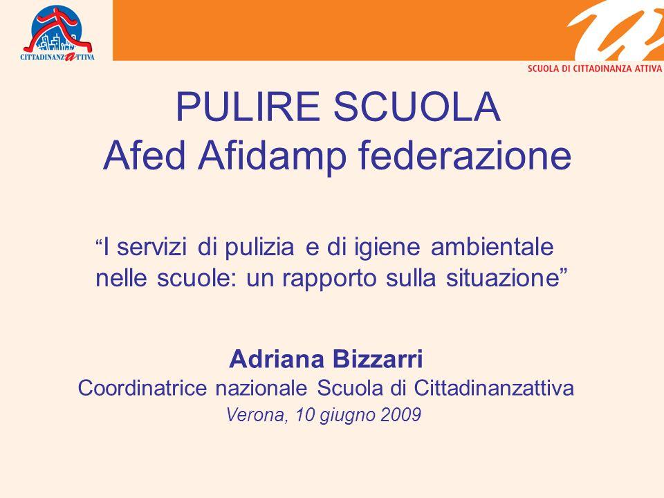 PULIRE SCUOLA Afed Afidamp federazione I servizi di pulizia e di igiene ambientale nelle scuole: un rapporto sulla situazione Adriana Bizzarri Coordin
