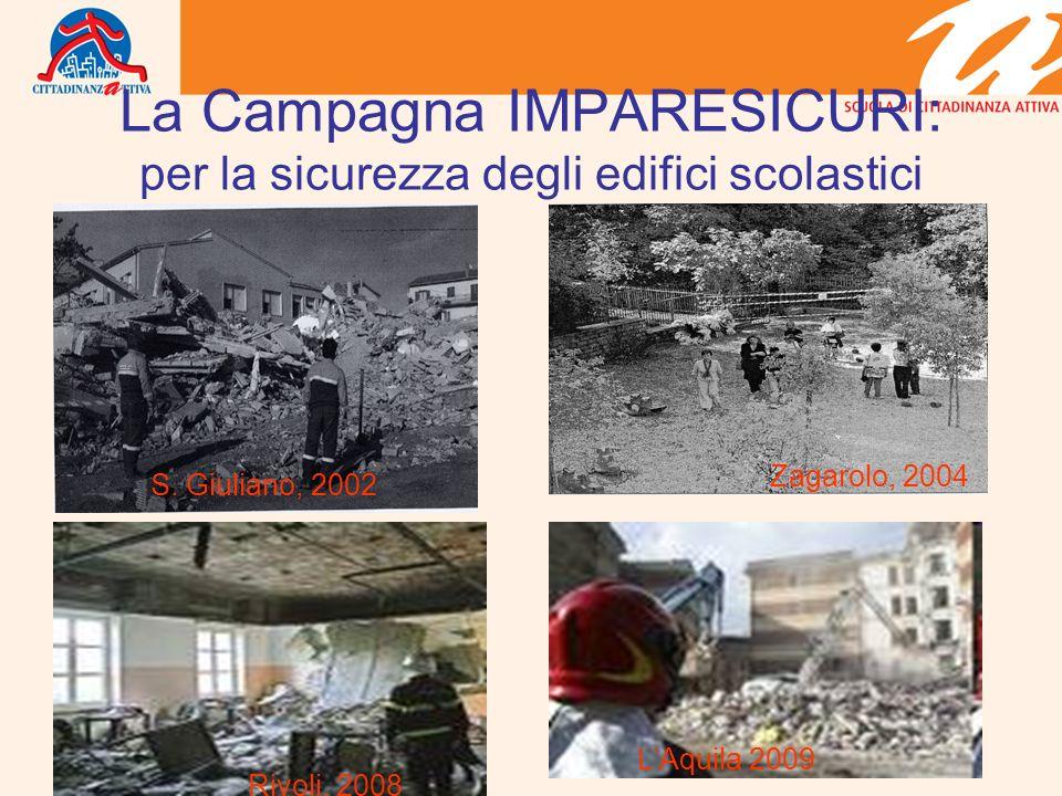 La Campagna IMPARESICURI: per la sicurezza degli edifici scolastici S. Giuliano, 2002 Zagarolo, 2004 Rivoli, 2008 LAquila 2009