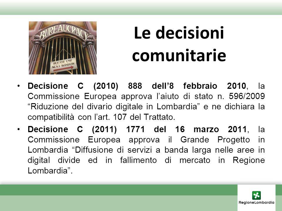 Le decisioni comunitarie Decisione C (2010) 888 dell8 febbraio 2010, la Commissione Europea approva laiuto di stato n. 596/2009 Riduzione del divario