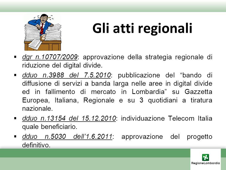 Gli atti regionali dgr n.10707/2009: approvazione della strategia regionale di riduzione del digital divide. dduo n.3988 del 7.5.2010: pubblicazione d