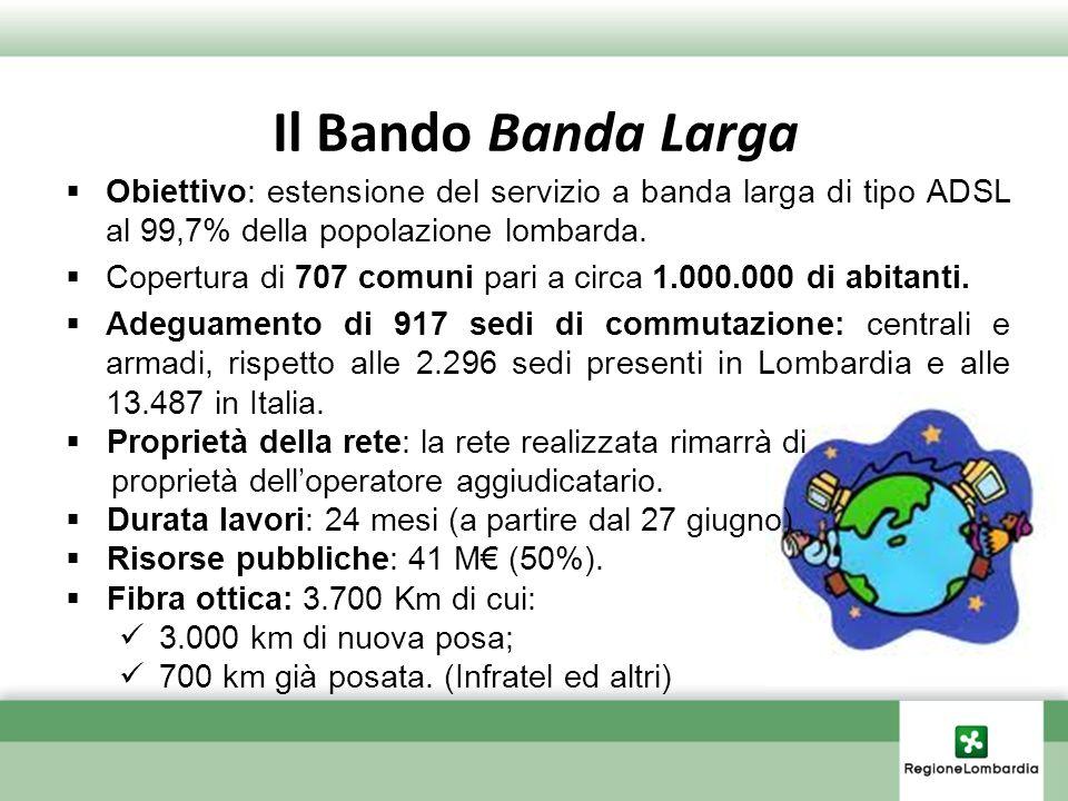 Il Bando Banda Larga Obiettivo: estensione del servizio a banda larga di tipo ADSL al 99,7% della popolazione lombarda. Copertura di 707 comuni pari a