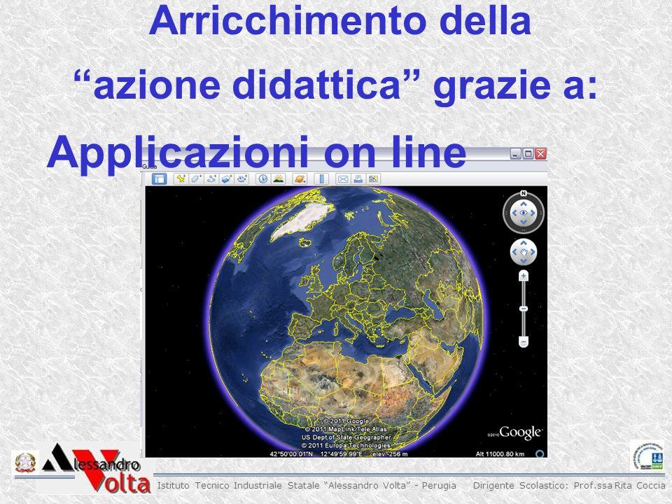 Dirigente Scolastico: Prof.ssa Rita Coccia Istituto Tecnico Industriale Statale Alessandro Volta - Perugia Arricchimento della azione didattica grazie a: Applicazioni on line