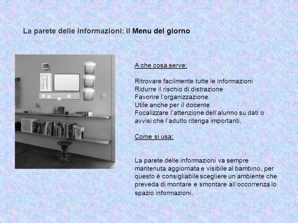 La parete delle informazioni: il Menu del giorno A che cosa serve: Ritrovare facilmente tutte le informazioni Ridurre il rischio di distrazione Favori