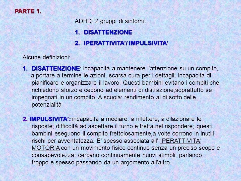 PARTE 1. ADHD: 2 gruppi di sintomi: 1.DISATTENZIONE 2.IPERATTIVITA/ IMPULSIVITA Alcune definizioni: 1.DISATTENZIONE 1.DISATTENZIONE: incapacità a mant