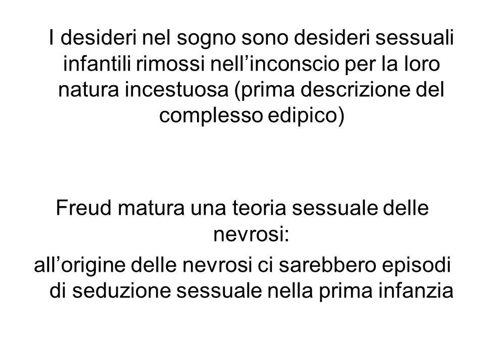 I desideri nel sogno sono desideri sessuali infantili rimossi nellinconscio per la loro natura incestuosa (prima descrizione del complesso edipico) Freud matura una teoria sessuale delle nevrosi: allorigine delle nevrosi ci sarebbero episodi di seduzione sessuale nella prima infanzia
