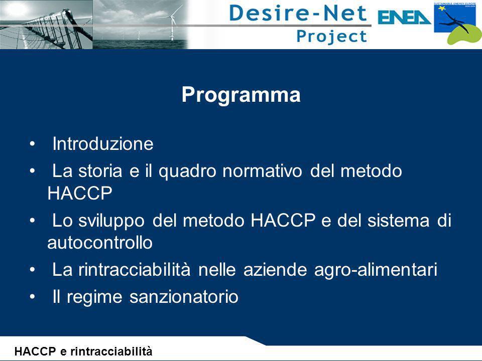Lo sviluppo del metodo HACCP e del sistema di autocontrollo SEQUENZA LOGICA PER L APPLICAZIONE DELL HACCP (3) Definizione del sistema di monitoraggio dei CCP (4° Principio) Definizione degli interventi in caso di non controllo dei CCP (5° Principio) Definizione di procedure per verificare lefficacia del sistema di autocontrollo (6° Principio) Definizione della documentazione di pianificazione e registrazione dei principi e della loro applicazione (7° Principio) HACCP e rintracciabilità