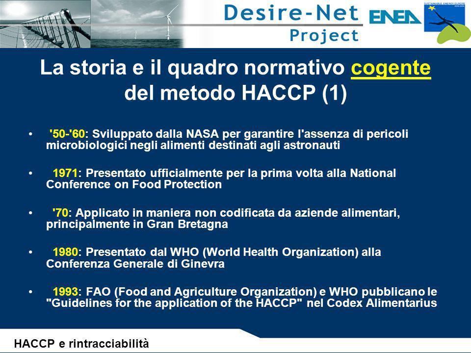 La storia e il quadro normativo cogente del metodo HACCP (2) 90: Richiamato da direttive comunitarie orizzontali (93/43/CEE) e verticali (91/493/CEE, 92/5/CEE e 92/46/CEE) ed adottato come strumento di autocontrollo e vigilanza 1998: Obbligo di legge in Italia per tutte le industrie alimentari (D.