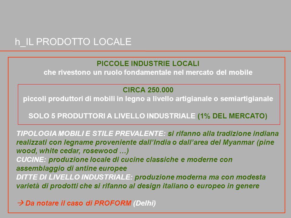 h_IL PRODOTTO LOCALE PICCOLE INDUSTRIE LOCALI che rivestono un ruolo fondamentale nel mercato del mobile CIRCA 250.000 piccoli produttori di mobili in
