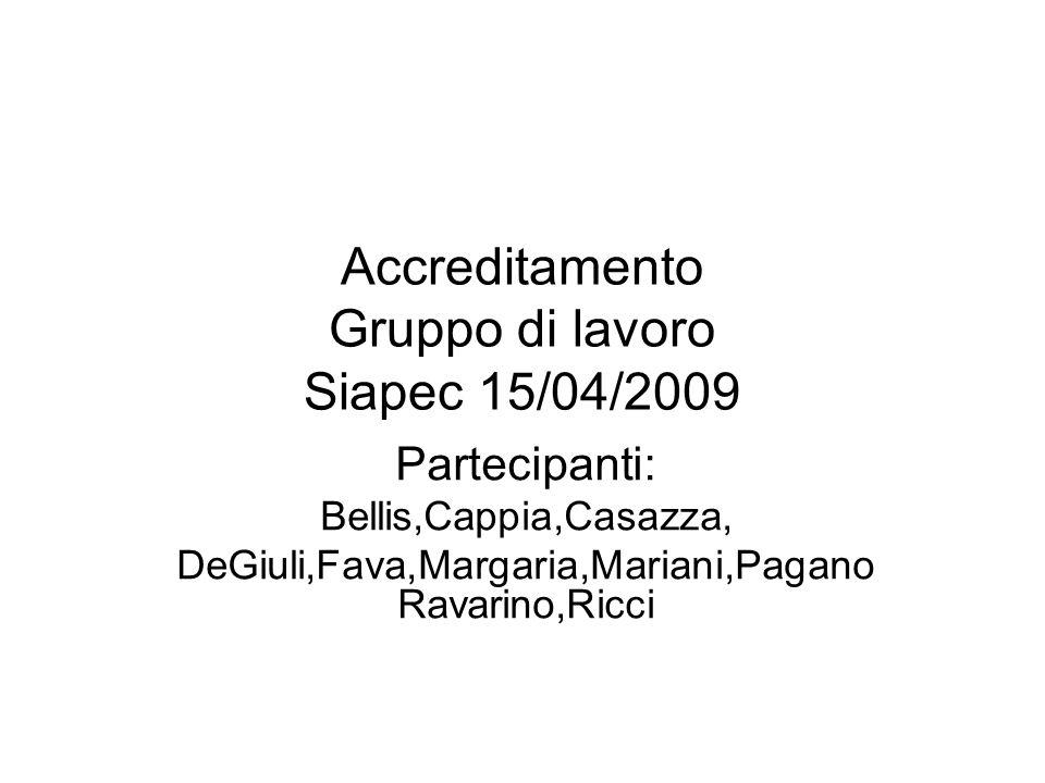 Accreditamento Gruppo di lavoro Siapec 15/04/2009 Partecipanti: Bellis,Cappia,Casazza, DeGiuli,Fava,Margaria,Mariani,Pagano Ravarino,Ricci