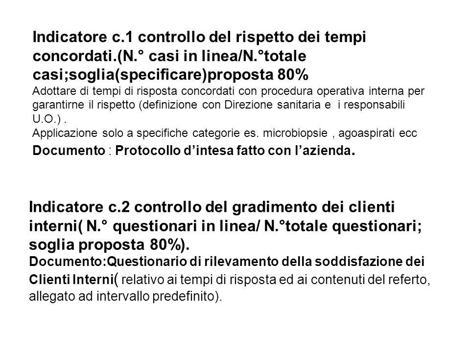 Indicatore c.1 controllo del rispetto dei tempi concordati.(N.° casi in linea/N.°totale casi;soglia(specificare)proposta 80% Adottare di tempi di risp