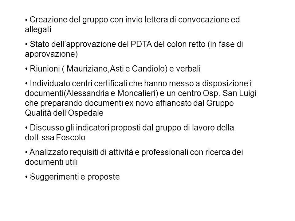 Creazione del gruppo con invio lettera di convocazione ed allegati Stato dellapprovazione del PDTA del colon retto (in fase di approvazione) Riunioni