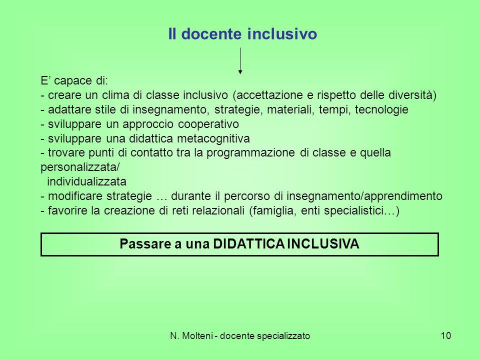 N. Molteni - docente specializzato10 Il docente inclusivo E capace di: - creare un clima di classe inclusivo (accettazione e rispetto delle diversità)