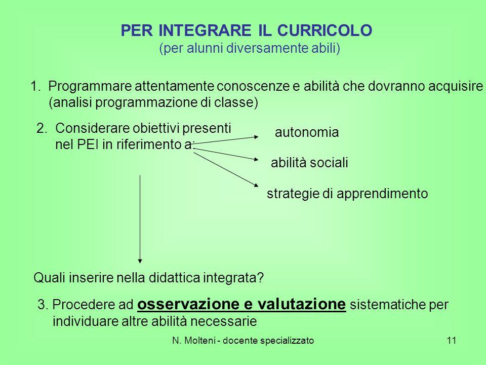 N. Molteni - docente specializzato11 PER INTEGRARE IL CURRICOLO (per alunni diversamente abili) 1.Programmare attentamente conoscenze e abilità che do