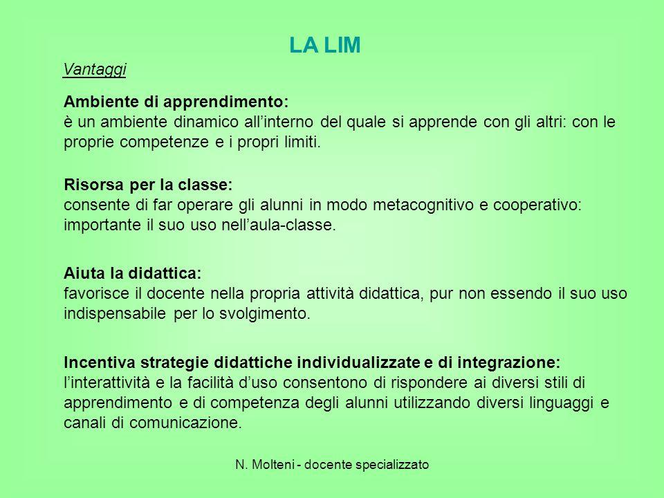 LA LIM Ambiente di apprendimento: è un ambiente dinamico allinterno del quale si apprende con gli altri: con le proprie competenze e i propri limiti.