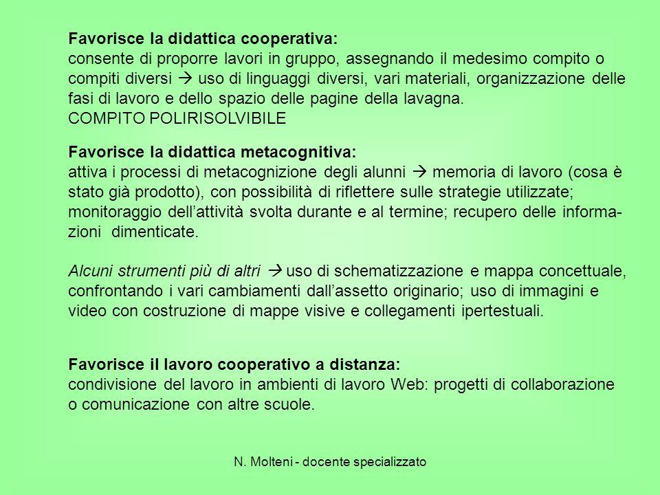 Favorisce la didattica cooperativa: consente di proporre lavori in gruppo, assegnando il medesimo compito o compiti diversi uso di linguaggi diversi,