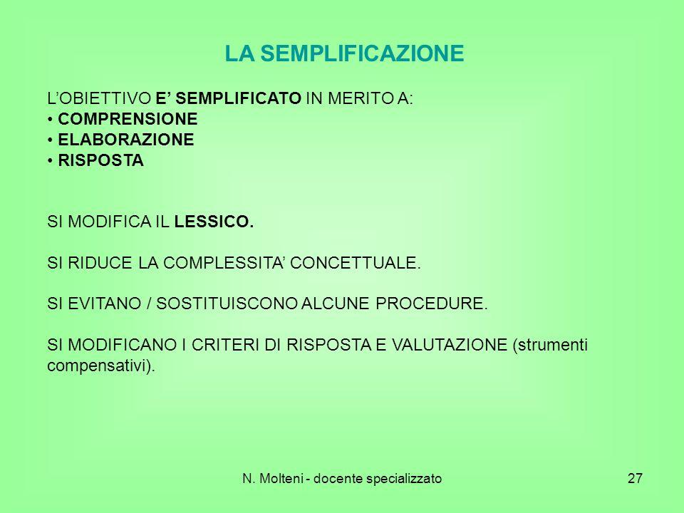 27 LA SEMPLIFICAZIONE LOBIETTIVO E SEMPLIFICATO IN MERITO A: COMPRENSIONE ELABORAZIONE RISPOSTA SI MODIFICA IL LESSICO. SI RIDUCE LA COMPLESSITA CONCE