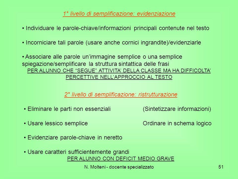 N. Molteni - docente specializzato51 1° livello di semplificazione: evidenziazione Individuare le parole-chiave/informazioni principali contenute nel