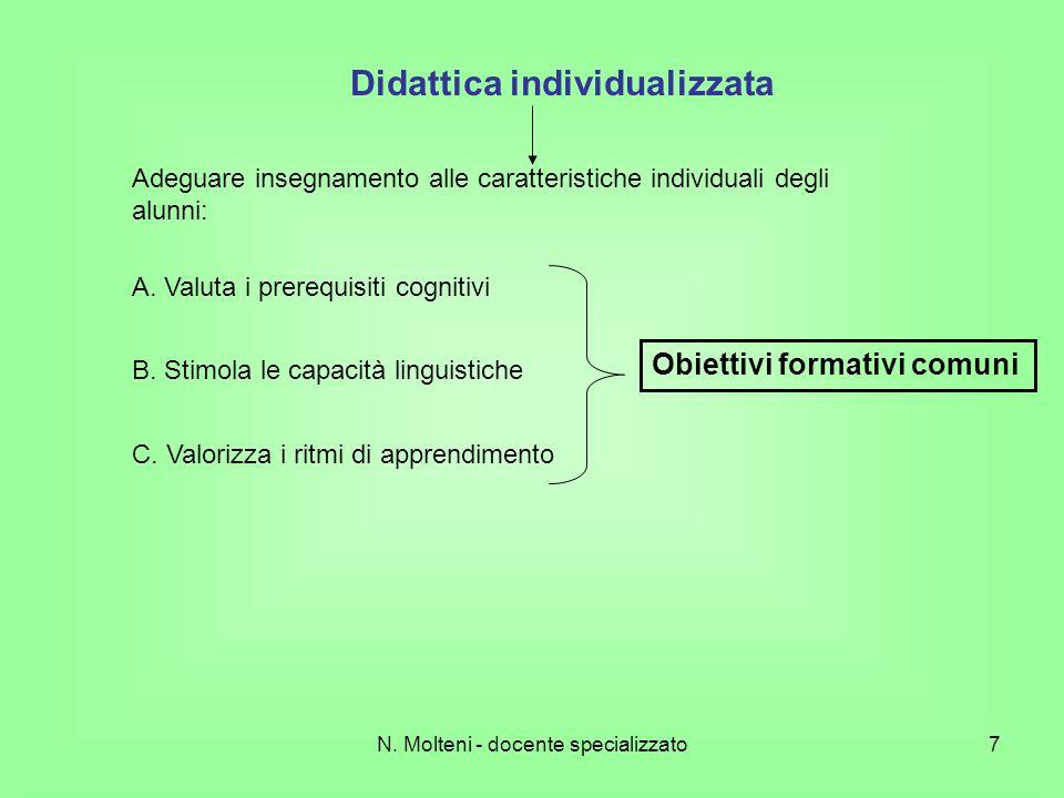 N. Molteni - docente specializzato7 Didattica individualizzata Adeguare insegnamento alle caratteristiche individuali degli alunni: A. Valuta i prereq