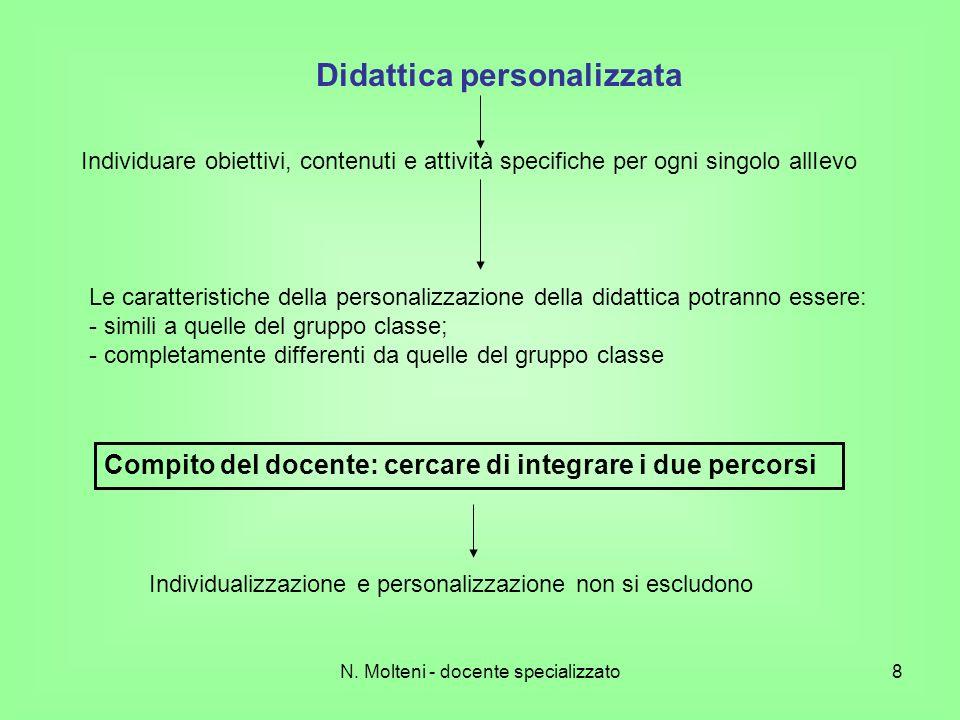 N. Molteni - docente specializzato8 Didattica personalizzata Individuare obiettivi, contenuti e attività specifiche per ogni singolo allIevo Le caratt