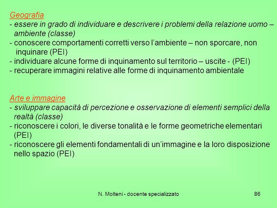 N. Molteni - docente specializzato86 Geografia - essere in grado di individuare e descrivere i problemi della relazione uomo – ambiente (classe) - con