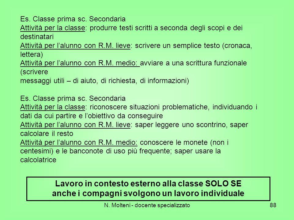 N. Molteni - docente specializzato88 Es. Classe prima sc. Secondaria Attività per la classe: produrre testi scritti a seconda degli scopi e dei destin